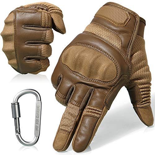 AXBXCX Tactical Gloves Military Motorcycle Touch Screen Plastic Hard Knuckle Full Finger Outdoor Gloves for Combat Training Shooting Motorbike Hunting Airsoft Paintball Brown XL