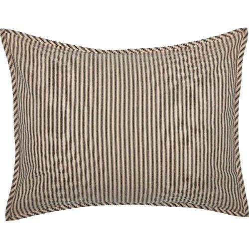 VHC Brands Farmhouse Bedding Miller Farm Charcoal Ticking Stripe Cotton Patchwork Chambray Standard Sham, Dark Creme White ()