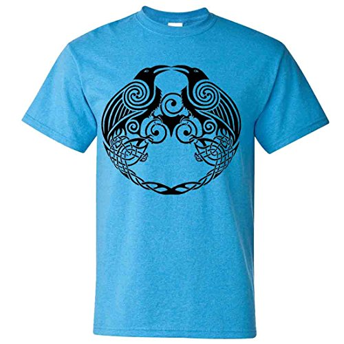 - Dual Raven Celtic Tattoo T-shirt/tee - Heather Sapphire XX-Large