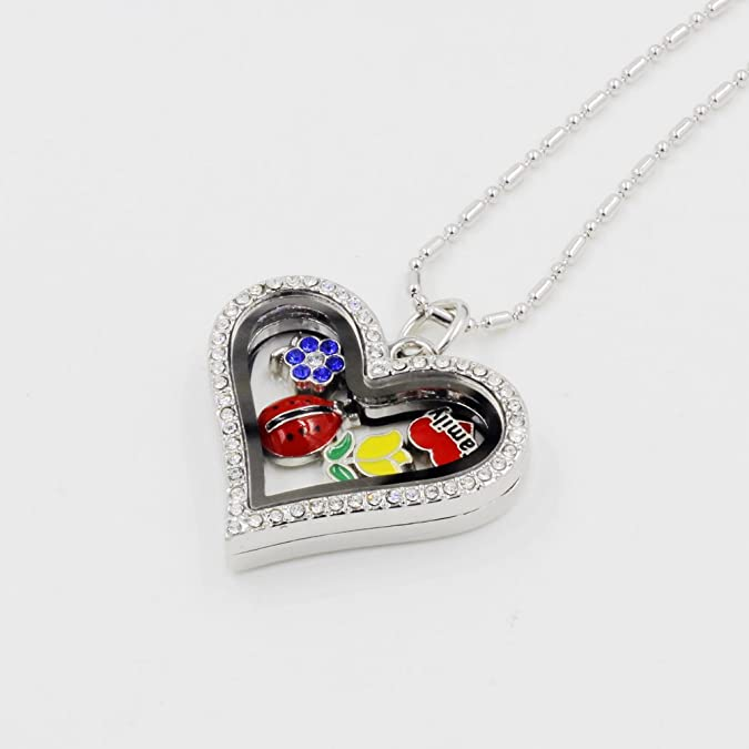 Heart Shaped Glass Locket NECKLACE for Floating Charms LARGE or SMALL Choose Size Magnetic w Chain Starter Set Blank Empty Crystals Frame