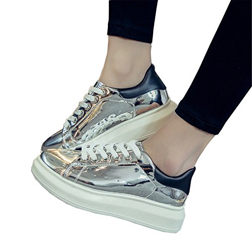 Beststore VAO Patent Leather Creepers Platform Shoes Woman New Casual Loafers Gold Silver Flats Lace-Up Women Shoes XWC1010 Silver 2 6