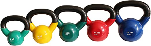 Ader Vinyl Kettlebell Set- 5, 8, 10, 12, 15 Lbs Great Gift.