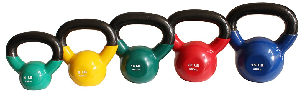 Ader Vinyl Kettlebell Set- 5, 8, 10, 12, 15 Lbs Great Gift. by Ader Sporting Goods