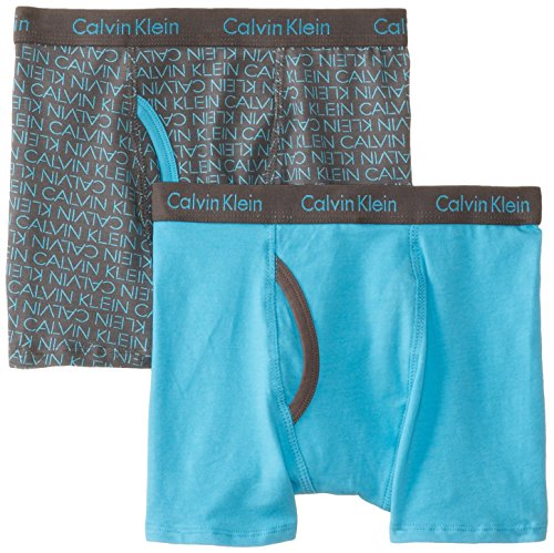 Calvin Klein Big Boys' Assorted 2 Pack Boxer Briefs, Blue/Gr