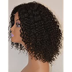 Chantiche Afro Kinky Curly Lace Wig For African Americans 100% Brazilian Remy Human Hair Glueless Full Wigs Invisible Left Side Parting Natural Color 14 Inches