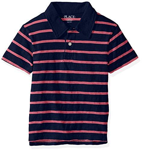 The Children's Place Big Boys' Thin Stripe Polo Shirt, Captain Navy, S (5/6)