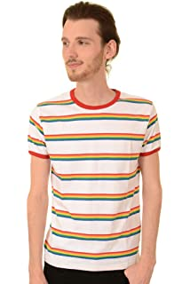 b529898ba8 Run & Fly Mens 70s Retro Rainbow Brights Striped T Shirt: Amazon.co ...