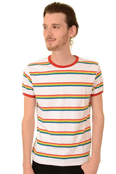 Vintage Shirts – Mens – Retro Shirts Run & Fly Mens 70s White Retro Rainbow Block Stripe T Shirt $18.95 AT vintagedancer.com