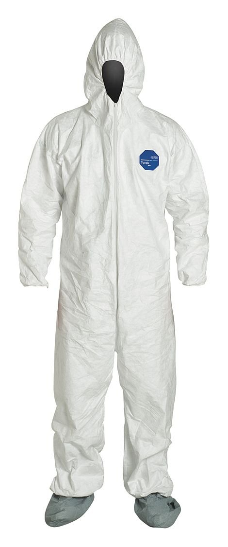 Dupont Tyvek 122S Coveralls w/ Hood & Boots 4X TY122SWH-4X