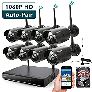 29. ONWOTE 8 Channel 1080P Outdoor Wireless Security Camera System with 2TB Hard Drive and 8 HD Night Vision