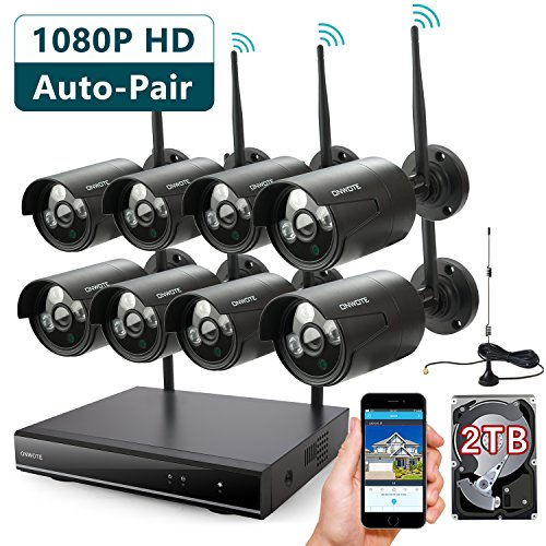 ONWOTE 8 Channel 1080P Outdoor Wireless Security Camera Sys