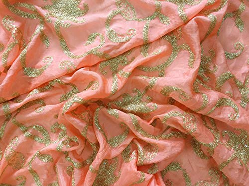 Gold Sequin Flower Embroidery Fabric for Sari Blouse Crafts 1 Yard by Craftbot ()