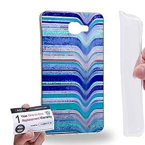 Case88 [Samsung Galaxy A9 (2016)] Gel TPU Carcasa/Funda & Tarjeta de garantía - Art Fashion Blue Melting Stripes Art0795