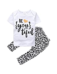 "Baby Girls Short Sleeve Letters ""be you tiful"" T-shirt and Leopard Pants Outfit"