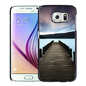 NEW Unique Custom Designed Samsung Galaxy S6 Phone Case With Stunning Lake Dock Colorful Sky_Black Phone Case