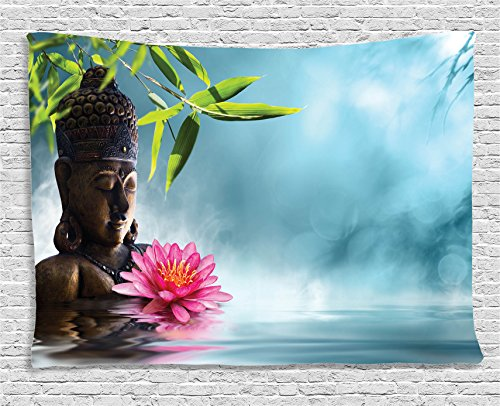 (Ambesonne Zen Meditation Decor Collection, Zen Buddha Waterlilly Flowers Spa Decor Nature Feng Shui Natural Calm Water Floral, Bedroom Living Room Dorm Wall Hanging Tapestry, 80W X 60L)