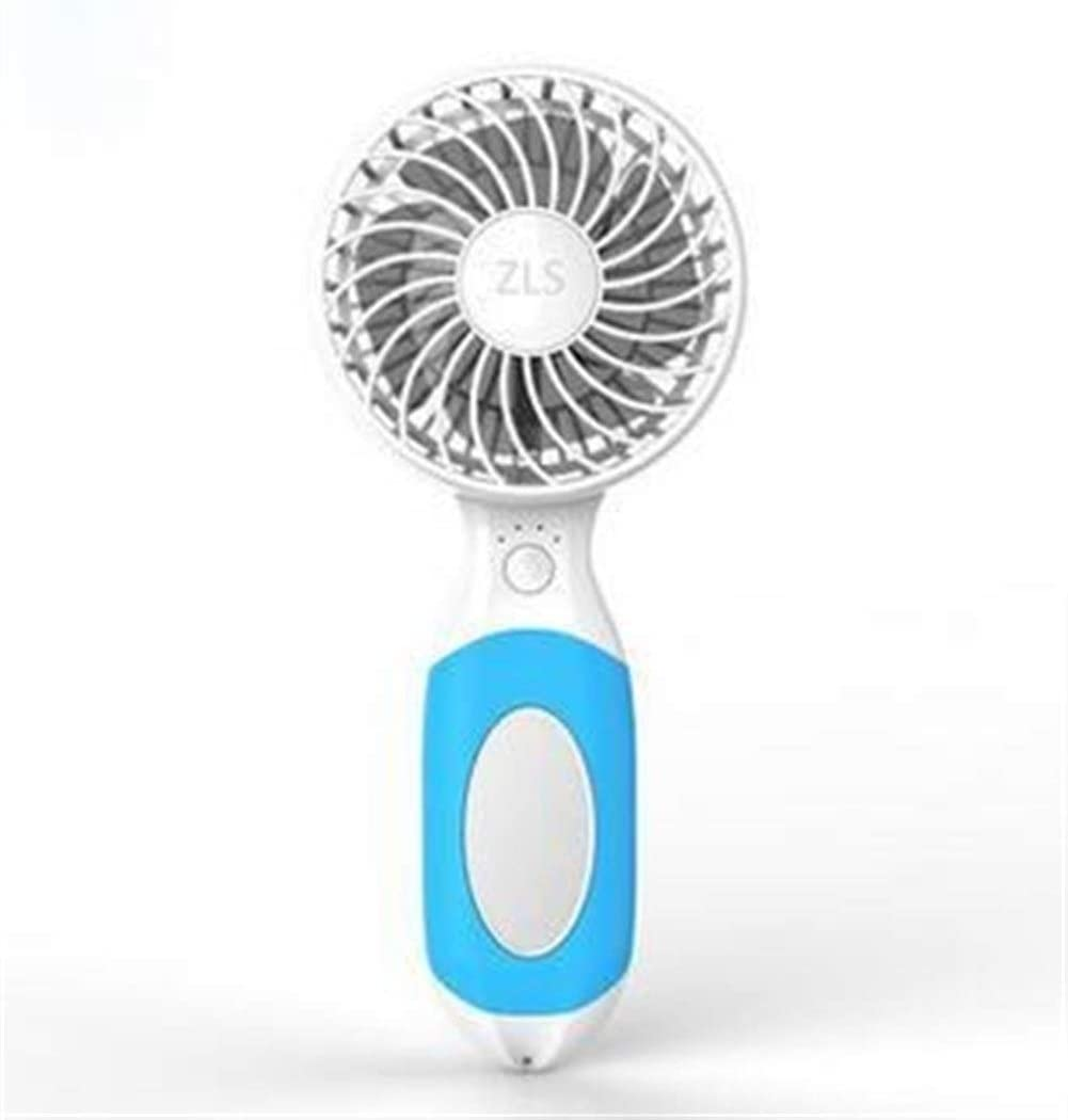 Color : Pink Air Cooling Fan Adjustable Speed Mini Portable Fan USB Rechargeable Creative Cute Fan Mirror Style