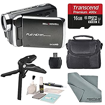 Image of Bell & Howell DV30HD 1080p HD Video Camera Camcorder (Black) + Case, Tripod, 16GB Memory Card, Card Reader & Cleaning Accessories Camcorders