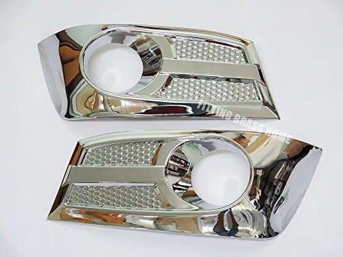 (CHROME FOG LIGHT COVER SPOT LAMP TRIM PAIR FOR TOYOTA FORTUNER 2011 12 13 14 (V.2))