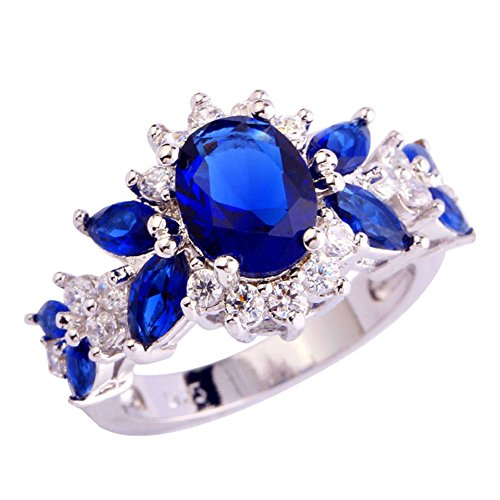 Narica Women's Charming Oval Cut 27Pcs Sapphire Quartz Engagement Ring Cocktail Ring