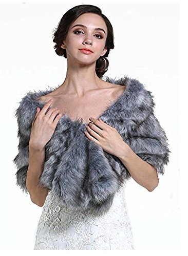 1920 Brown Faux Fur Shawl Bridal Wedding Fur Wraps and Shawls Faux Mink Shawl for Women and Girls (Grey) ()