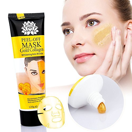 Zinnor 24k Gold Collagen Peel-off Facial Mask Whitening Anti-Wrinkle Face Masks Skin Care Face Lifting Firming Moisturize (4.23oz) Pure Peel Off Mask