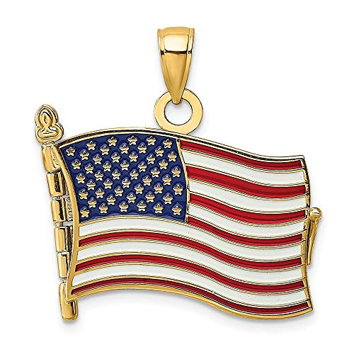 14k Yellow Gold Enamel 3 D Pledge Of Allegiance Flag Book Pendant Charm Necklace Patriotic Fine Jewelry Gifts For Women For Her