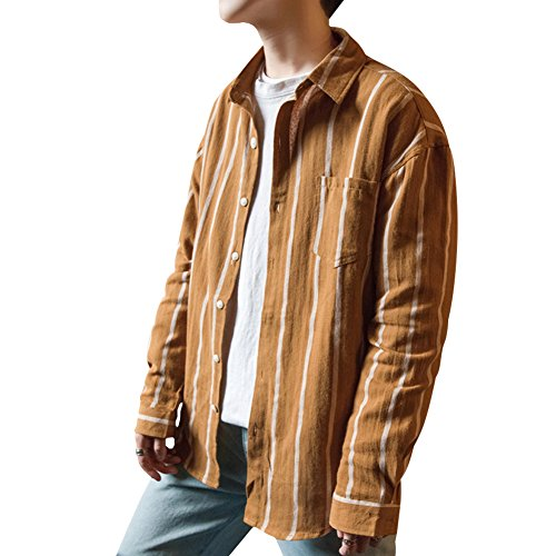 底行くスタジオYFFUSHI ワイシャツ メンズ yシャツ 長袖 ストライプ 綿 M-2XL ゆったりタイプ 全3色 春夏秋 お洒落 カジュアル 合わせやすい