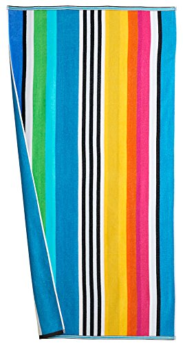 Cotton Reversible Towel - Absorbent Cotton Large Striped  Beach Towel in Vibrant Colors(Multi)