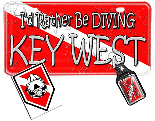 (3 Piece Package-Dive Flag License Plate, Key Ring, Decal - I'd Rather be Diving Key West (scuba))