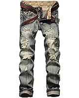 YTD Men's Black Jeans Ripped Distressed...