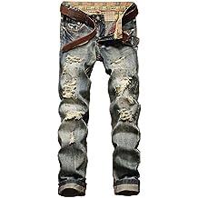 YTD Men's Zipper Biker Jeans Ripped Distressed Slit Denim Slim Stretch Moto Pants