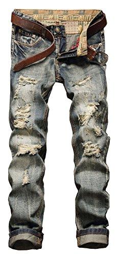 YTD Men's Black Jeans Ripped Distressed Slit Denim Slim Stretch Motor Pants (US 28, Nostalgia Blue)
