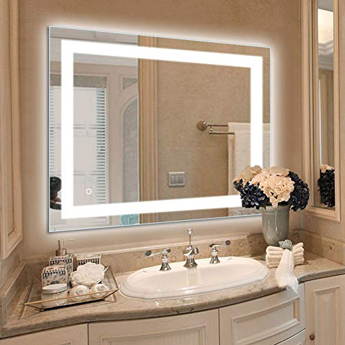 36 x 28 inch LED Lighted Vanity Bathroom Mirror, Wall Mounted + - Mirrors And Vanity Bathroom Wall Mounted Lighting