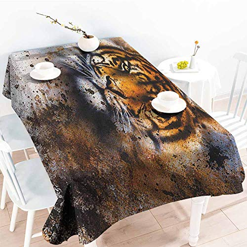 (familytaste Tiger,Table-Cloth Home Decoration Wild Beast Looking Straight into The Eyes of The Viewer Angry Looking Panthera Tigris 60