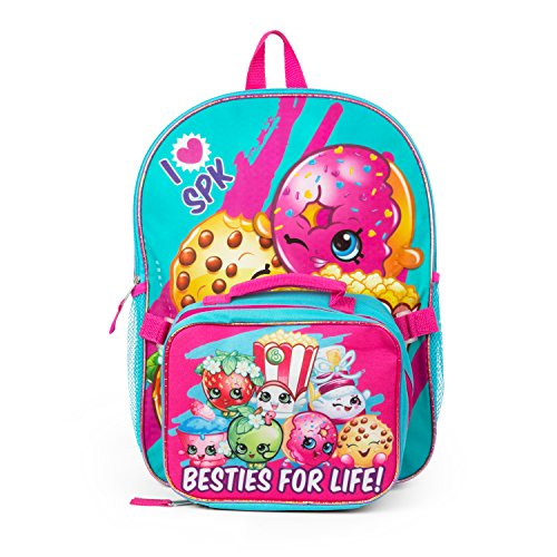 Shopkins Girls' Backpack with Detachable Lunch, Hot Pink/Blue