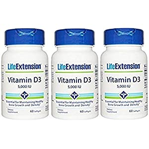 Life Extension Vitamin D3 5000 IU 60 softgels (Pack of 2)