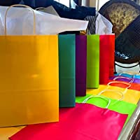 "Adorox 12 Assorted (13"" H x 10.25"" L x 4.75"" W) Rainbow Matte Color Paper Gift Bags with String Handles Birthday Wedding All Occasion"