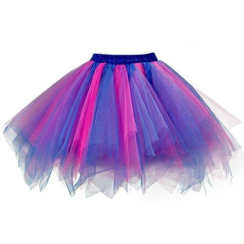 Satin Vintage Skirt - Ellames Women's Vintage 1950s Tutu Petticoat Ballet Bubble Dance Skirt Blue-Fuchsia L/XL