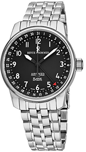 - Revue Thommen AirSpeed XLarge Mens Automatic Watch Stainless Steel Band - 40mm Analog Black Face with Second Hand, Date and Sapphire Crystal Watch - Swiss Made Casual Luxury Watches For Men 16050.2137