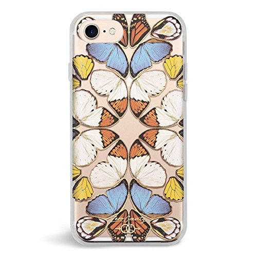 Phone Case Embroidered (Zero Gravity Case Compatible with iPhone 7/8 - Reign - Clear Butterfly Design - 360° Protection, Drop Test Approved)