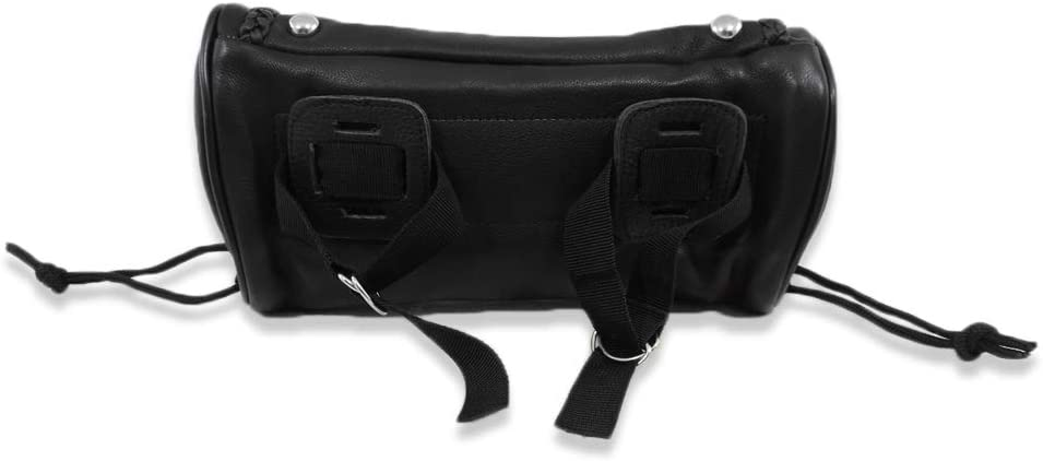 Genuine Soft Leather Universal Motorcycle Tool Bag Studded w// Braid Trim