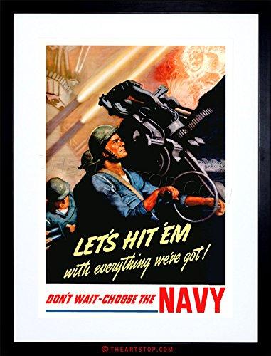 WAR WW2 1942 ENLIST IN THE US NAVY NEW FRAMED PRINT F97X7924