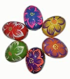 Set of 6 Hand Painted 2,5'' Wooden Polish Style Ukrainian Flower ornament Easter Eggs (Pysanky) Gift