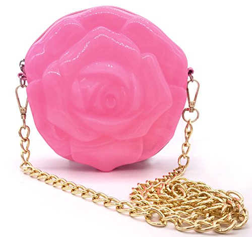 [MISASHA Flower Crossbody Fashion Bag for Girls (Baby Pink) Trendy Jelly Purse with Gold Chain | Teens, Youth | Fun, Colorful,] (Ladybug Costume Makeup)