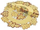 Xia Home Fashions Bountiful Leaf Embroidered Cutwork Fall Doilies, 12''