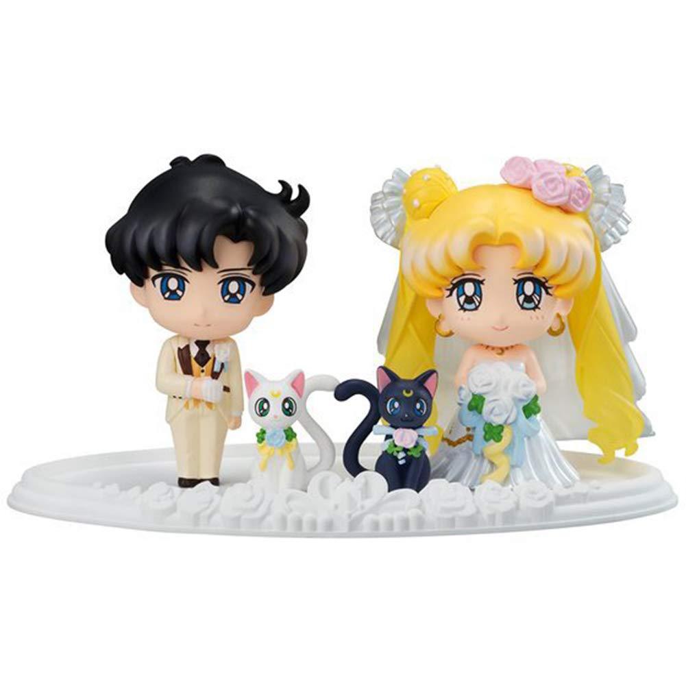 Yovvin Sailor Moon Vinylfigur, Sailor Moon Chiba Mamoru Luna Artemis Hochzeit PVC Figur Actionfigur Sammelfigur für Kinder Mädchen und Anime-Fans