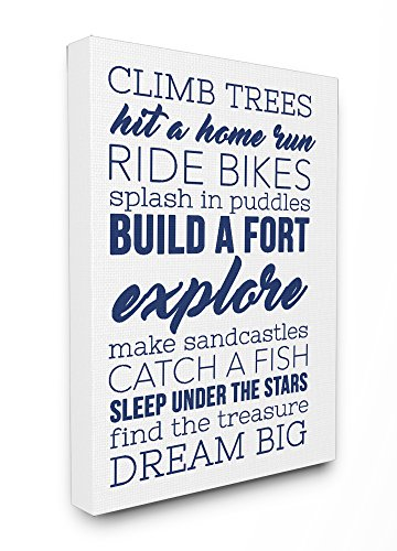 Stupell Home Décor Climb Trees Dream Big Navy with White Stretched Canvas Wall Art, 16 x 1.5 x 20, Proudly Made in USA
