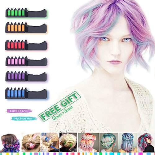 Hair Chalk - Temporary Hair Colors - Candy Hair - Comb For Hair Chalk Salon Washable Hair Colors For Kids For Girl - Hair Dyeing Party and Cosplay Diy Suitable For Dark Brown Hair (6 color) by CandyHair
