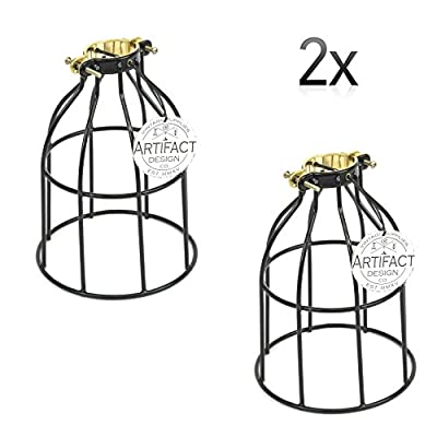 Rustic State Set of 2 Industrial Vintage Style | DIY Farmhouse Metal Wire Cage for Hanging Pendant Lighting | Light Fixture Lamp Guard | Rare Curved Design Black
